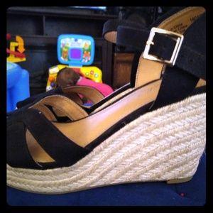 Women's black ankle strap espadrilles